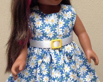 "Doll Dress in multi color fabric with Belt and White Shoes- fits 18"" dolls like American Girl"