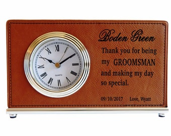 Groomsmen Custom Desk Clocks,Thank you Gifts to my Groomsmen,Wedding clocks,Gifts from the Groom/Bride,Personalized Leather Clocks, LCG001