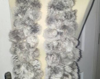 Rabbit fur pompom scarf grey
