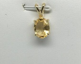 14K Yellow Gold Natural Citrine Pendant