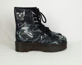 Gothic boots, custom shoes, crow shoes, raven custom shoes, skull boots, steampunk women shoes, alternative clothing, rockabilly shoes, goth