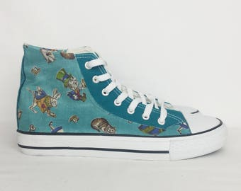 Alice in Wonderland shoes, original alice adventures shoes, custom converse style shoes, alice shoes, mad hatter, Chester cat, rockabilly