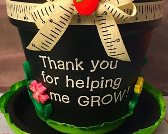 Thank you for helping me grow! Flower pot gift for teachers, coaches, and more!