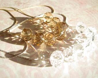 Elegant necklace Crystal necklace White necklace Beige necklace Simple necklace Wedding necklace Bridesmaid necklace Fashion necklace Gift