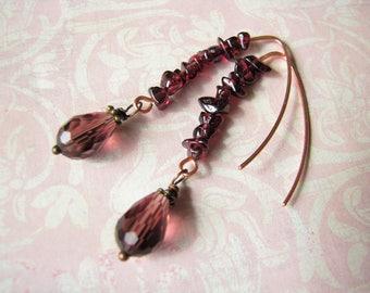 Garnet earrings Mother gift for her Raw Stone earrings Dangle earrings Boho earrings Copper earrings Ruby Earrings January Birthstone gift
