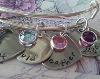 Hand Stamped, Open Heart, Circle plate, Names, Grandma, Nana, Mimi, Mother, MONOGRAMMED,Birthstone, wire bangle bracelet charm Bracelet