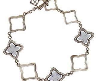 Vintage David Yurman Pavé Quatrefoil Bracelet (Diamonds and Chalcedony)
