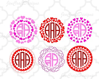 Heart Circle Monogram Frame svg Valentines Frame Cuttable SVG EPS Png DXF, Cricut Design Space Silhouette Studio Digital Cut Files