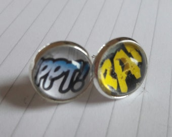 Recycled Comic Book 'Comic Text' Comic Stud Earrings - Upcycled & Unique Comic Earrings