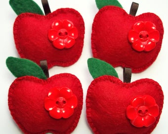 Felt Apple Brooch Teacher Gift Present End of Term Token Thank You Red