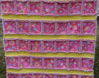 """Rag Quilt Flannel Multi Color Tossed Baby Items On A Pink Background Minky Pink Minky Backing 37""""x51"""" Baby Toddler Children"""