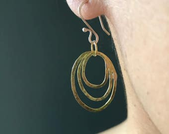 Forged Brass Earrings, triple hoop earrings, hammered earrings, modern earrings, contemporary earrings, grab & go, featherlight, daily wear