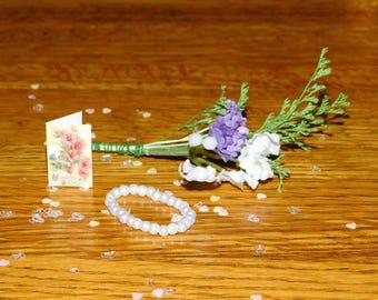 Miniature Floral Bouquet & Necklace
