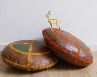 Set leather retro patchwork pillows. Brown/green/orange/yellow pad x 2