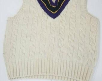 Polo Ralph Lauren Cream Sweater Vest 100% Wool XL Purple Black Yellow Vintage 90s Free Shipping Sport Beach