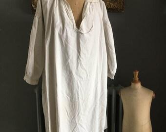 Antique French white linen hemp flax ladies smock chemise nightshirt size L