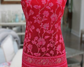 Cute Strapy Summer Short Dress Hot Pink to Red Paisley Floral Modern Design Size M Sheer Print Dress