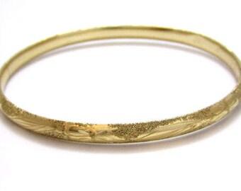 Antique Beautiful Vintage 14K Solid Gold Hinged Floral Etched Bangle Bracelet*585 Gold*5.6g*E274