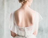 Amur - white tulle boho wedding dress with sleeves, sweetheart shaped corset bodice, low back sheer wedding gown, romantic dotted tulle