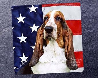 Basset Hound Coasters, Basset Hound Patriotic Coasters, Basset Hound Gift, Basset Hound Art, Basset Hound