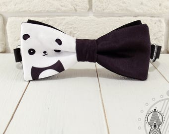 Bow Tie Panda, Bowtie black and white, Bow tie panda's pattern, Men's bow tie, Women's bow tie, Children's bow tie
