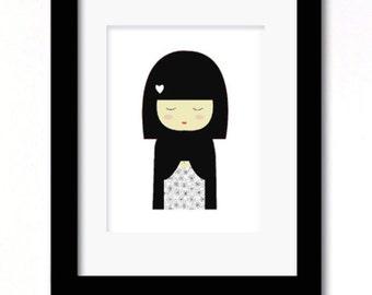 A4 china doll monochrome print