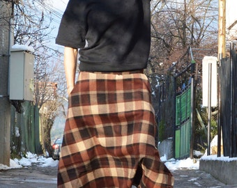 Wool Drop Crotch Harem Pants, Oversize Maxi Pants, Extravagant Casual Pants, Plaid Maxi Trousers by SSDfashion