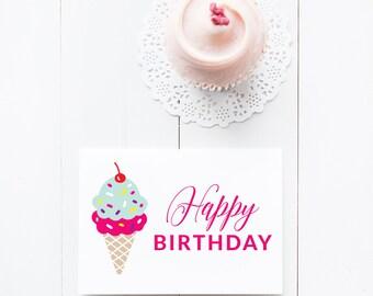 Birthday Card, Ice Cream Cone, Whimsical, Sprinkles, Fun Design