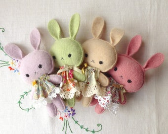 Cute kawaii cashmere bunny gift soft toy in Liberty print dress