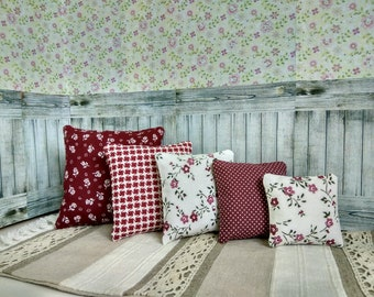 5 Pillow cushion for Blythe A set of 4 small pillows Decor extra pillow playscale bedding Burgundy Claret Diorama 1:6 scale dollhouse ooak