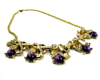 Coro Purple Bead Bib Necklace, Gold Tone Chain 16 Inches, Vintage 1920s, Signed