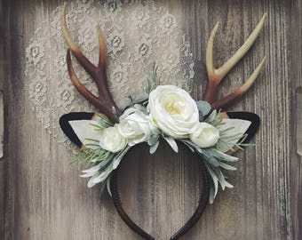 Floral Deer Headband with Antlers