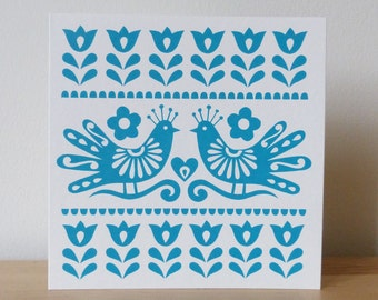 Greetings Card - Mexican Bird Card, Lovebirds Card, Love Card, Mexican Card, Frida Kahlo Birds, Screen Print by Fran Wood Design