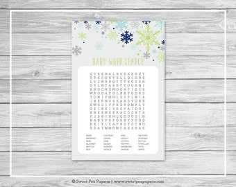 Winter Baby Shower Baby Word Search Game - Printable Baby Shower Word Search Game - Baby It's Cold Outside Baby Shower - Word Search - SP142
