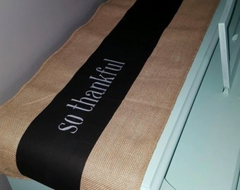 Chalkboard burlap table runner~personalized by you or request by us!