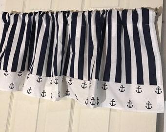 navy anchor nautical curtain with chevron border