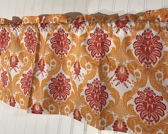 Waverly orange and coral damask curtain valance