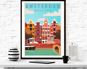 Amsterdam travel poster -  travel poster ,vintage ,wall art, home decor, travel poster,retro, graphic design, illustration,print,