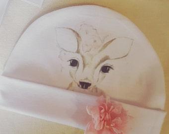 Baby girl beanie, baby hat, new born gift, baby hats, baby beanies, woodland baby beanie, fawn beanie,