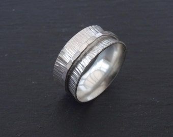 Sterling Silver spinner ring, silver ring, fiddle ring, spinning ring, worry ring, size U