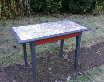 Table - End Table, Side Table , Coffee Table  - Upcycled in red and grey with a map of South West London FOR COLLECTION ONLY