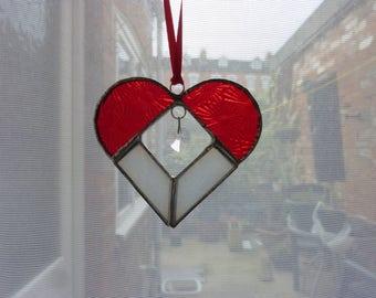 Stiand glass heart suncatcher,Red heart with crystal,Heart suncatcher,