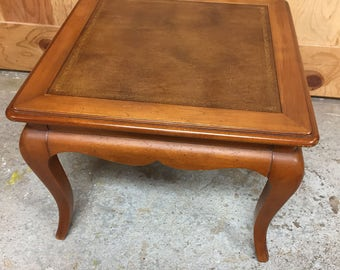 Vintage Side / End Table with Embossed Leather Top