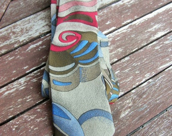 Mens Tie Abstract pattern, Free Shipping, Vintage Tie  Mens Necktie, Man Necktie