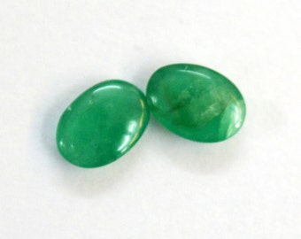 1.09 cts. 100% Natural Emerald pair 5X7 mm approx. cabochon for jewelery