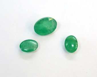 3.88 cts. 3 pcs. Set ! 100% Natural Green Emerald 5X7- 7X9 mm approx. cabochon for jewelery