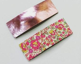 Set of rectangular hair snap clip - hair accessories - barrettes - pink flower -  Haarspangen - hair bow