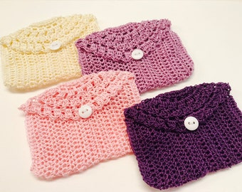 Crocheted Rosary Pouches, Set of Four (Cream, Pink, Lavender, and Purple)