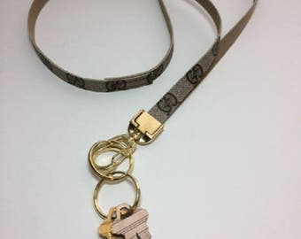Gucci Lanyard, Gucci Keychain, Recycled, Upcycled, Repurposed, Reworked, Tan or Navy Gucci Key Fob with Gold Hardware,