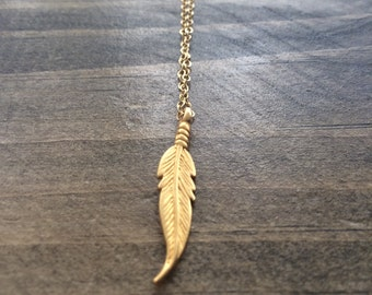 Long Feather Necklace, Boho chic feather necklace, Boho wedding, Wedding party gift, Bridesmaid gift, winter bride jewelry